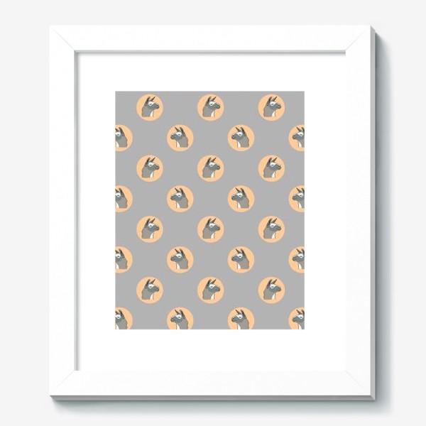 Картина «Милый орнамент с мордами ламы. Серая альпака в круге на темном фоне»