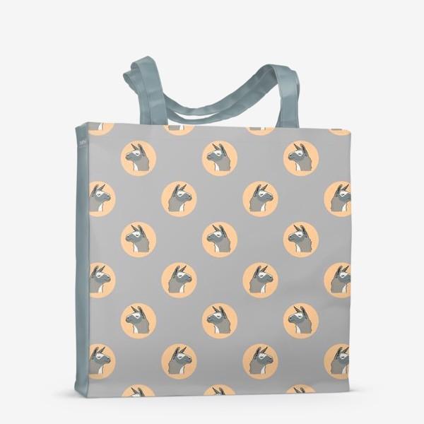 Сумка-шоппер «Милый орнамент с мордами ламы. Серая альпака в круге на темном фоне»
