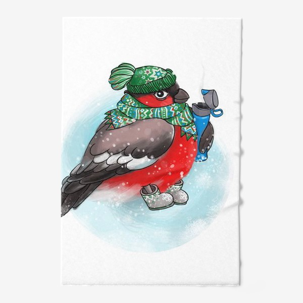 Полотенце «Милый Снегирь в валенках, шапочке и с термокружкой. Зима.»