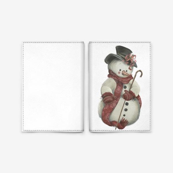 Обложка для паспорта «Новый год и Рождество, Снеговик»