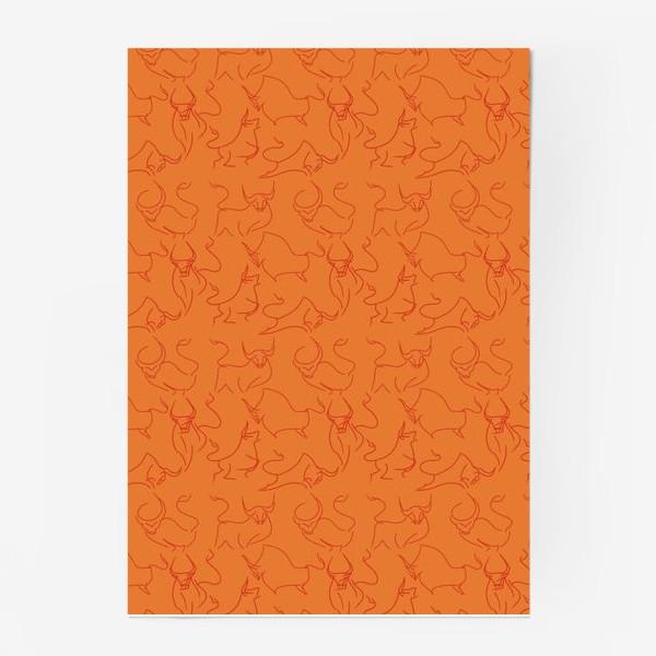 Постер «Красные быки паттерн»