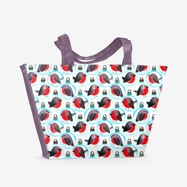 Пляжная сумка «Паттерн ёлочные шары со снегирями»