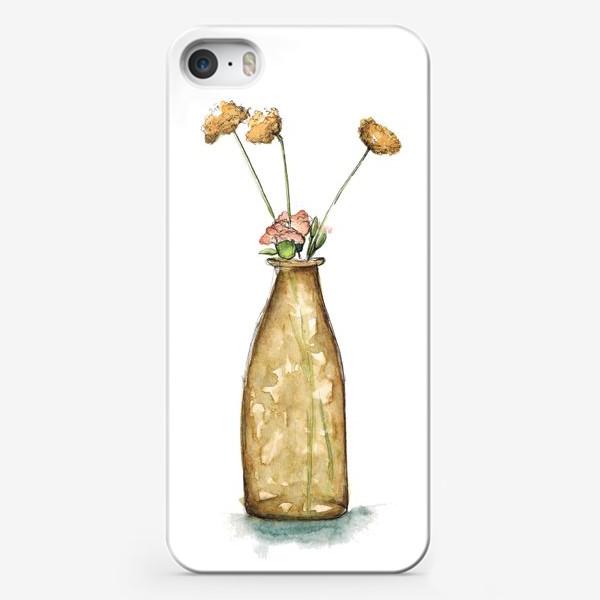 """Чехол iPhone «""""Ваза с цветами"""" акварельный скетч»"""