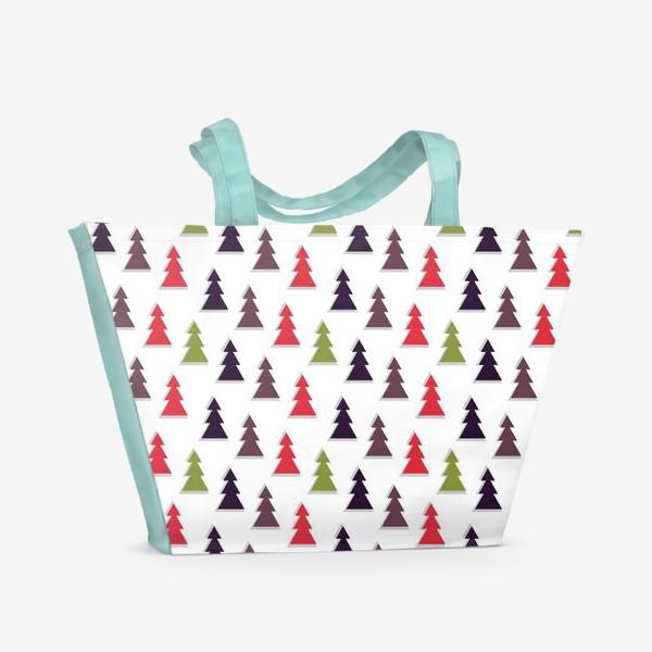 Пляжная сумка «Абстрактные ёлочки на белом фоне»