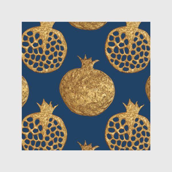 Скатерть «Гранаты золотые на синем»