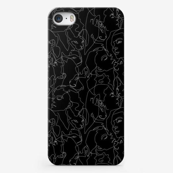 Чехол iPhone «Fashion скетч девушки и котики на черном»