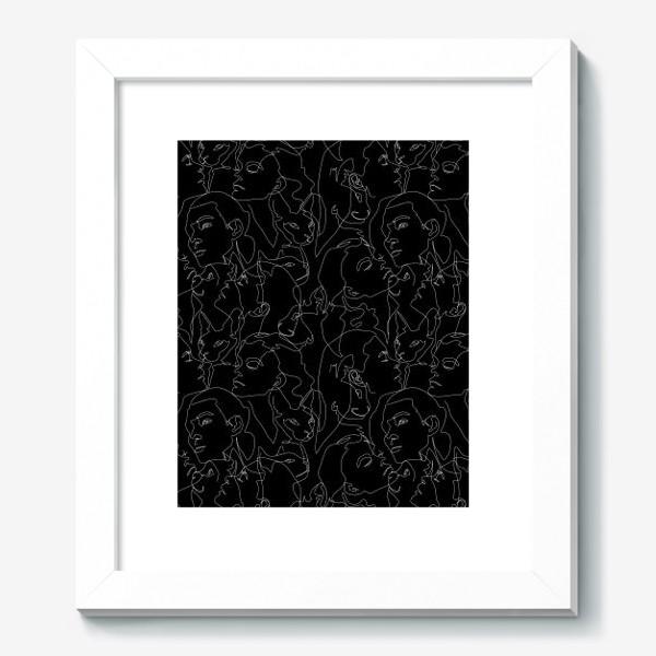 Картина «Fashion скетч девушки и котики на черном»