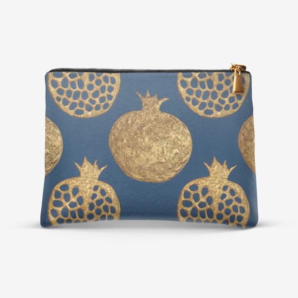 Косметичка «Гранаты золотые на синем»