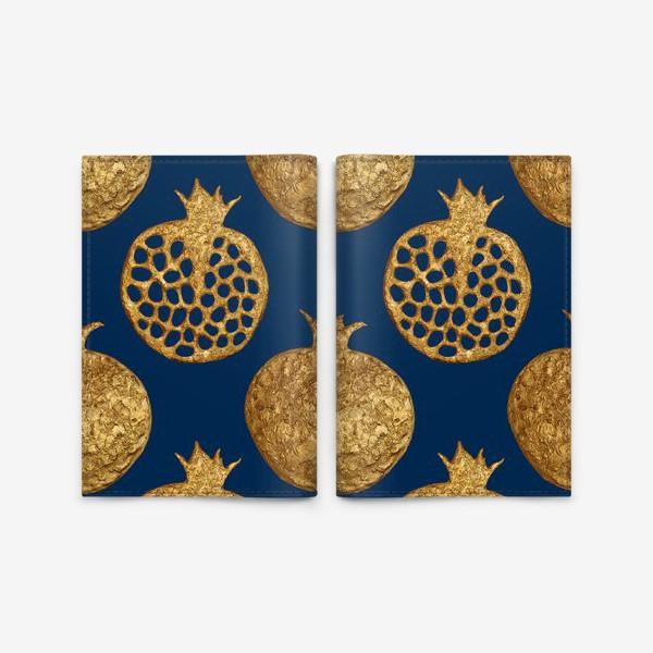 Обложка для паспорта «Гранаты золотые на синем»