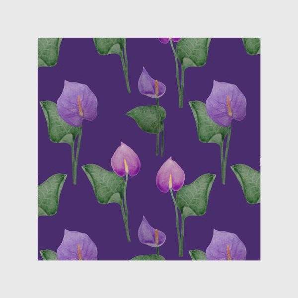 Шторы «Антуриумы на фиолетовом фоне»