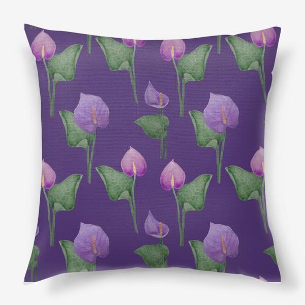 Подушка «Антуриумы на фиолетовом фоне»