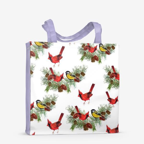 Сумка-шоппер «Птица синица, кардинал ель, шишки»