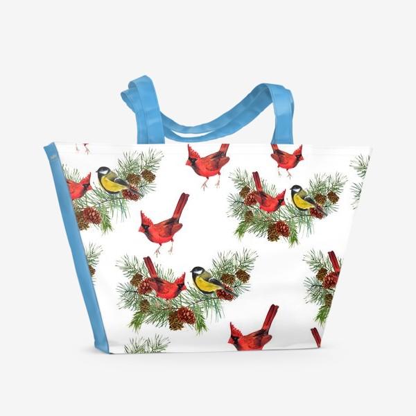 Пляжная сумка «Птица синица, кардинал ель, шишки»