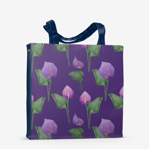 Сумка-шоппер «Антуриумы на фиолетовом фоне»