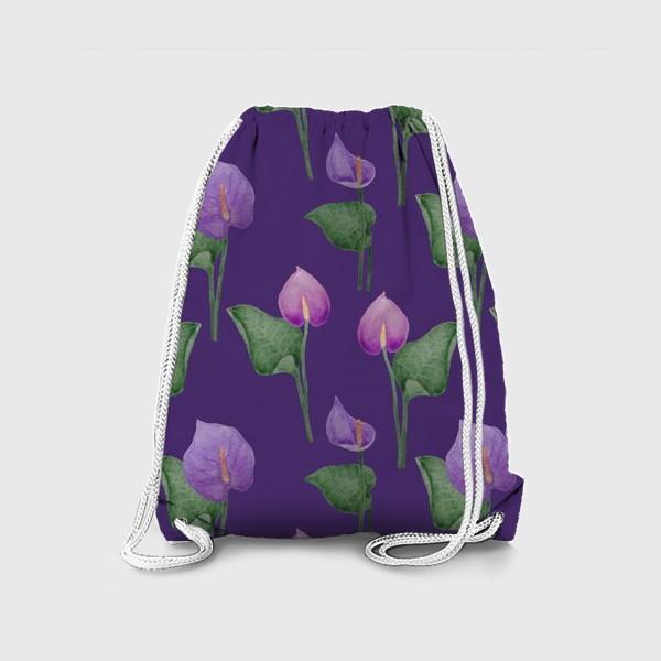 Рюкзак «Антуриумы на фиолетовом фоне»