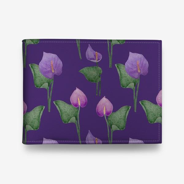 Кошелек «Антуриумы на фиолетовом фоне»