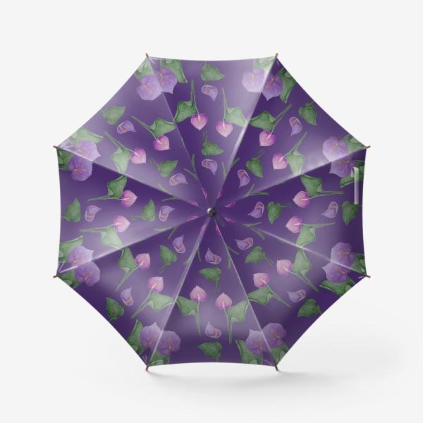 Зонт «Антуриумы на фиолетовом фоне»