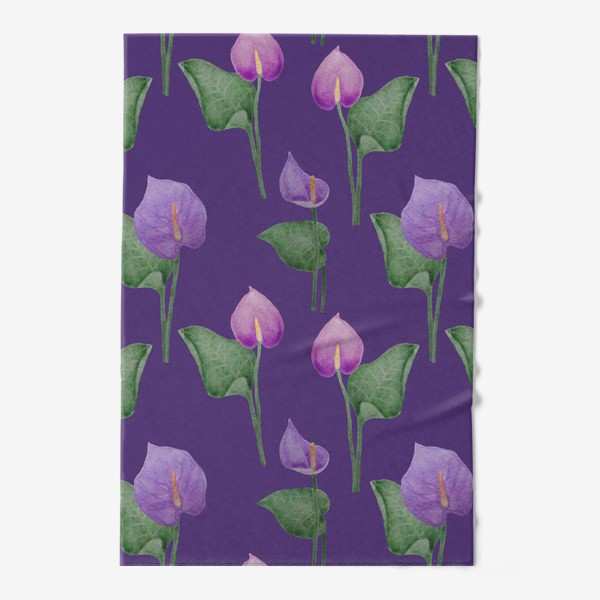 Полотенце «Антуриумы на фиолетовом фоне»