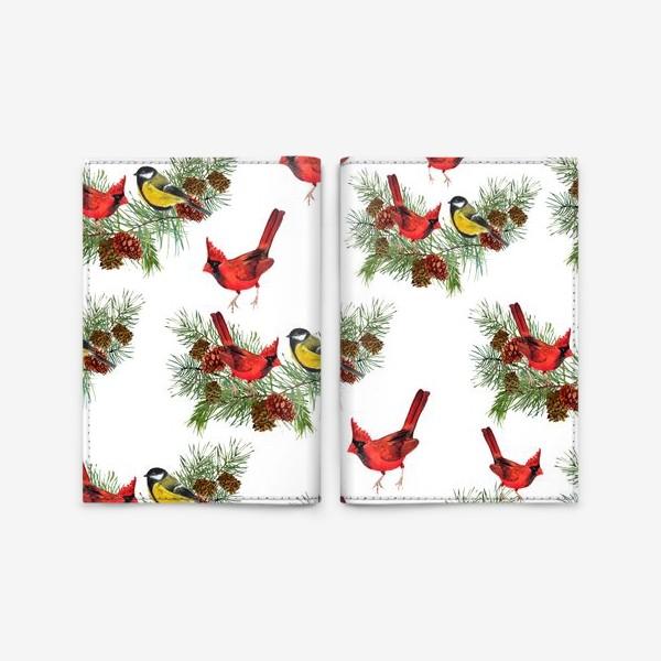 Обложка для паспорта «Птица синица, кардинал ель, шишки»