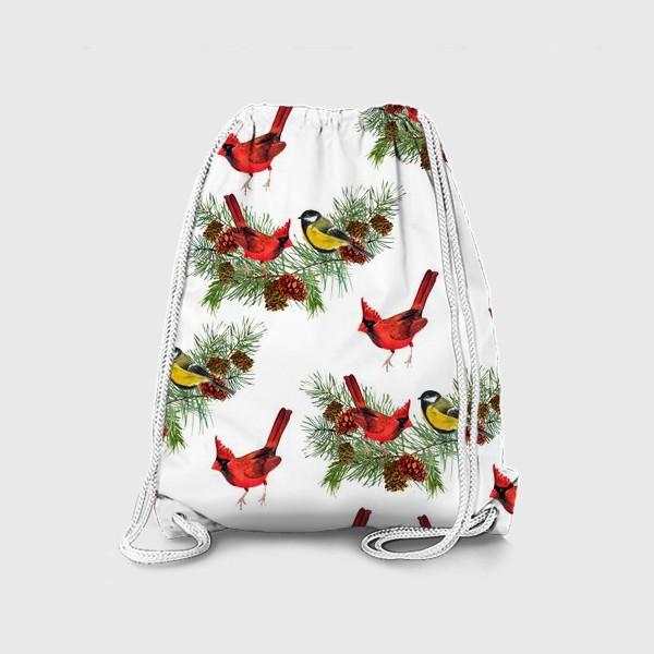 Рюкзак «Птица синица, кардинал ель, шишки»