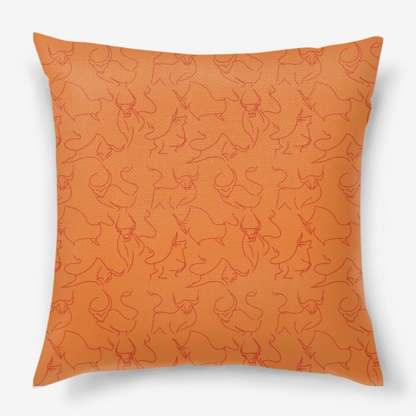 Подушка «Красные быки паттерн»