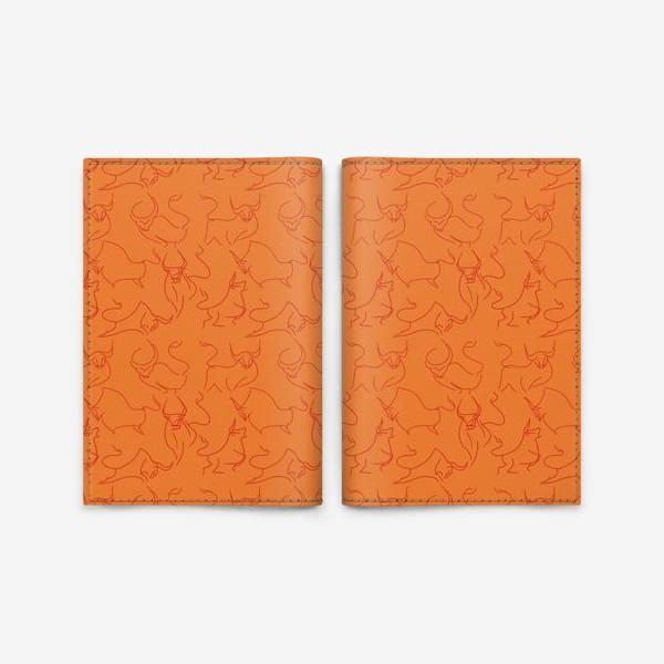 Обложка для паспорта «Красные быки паттерн»