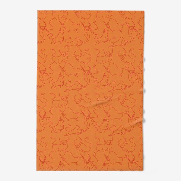 Полотенце «Красные быки паттерн»