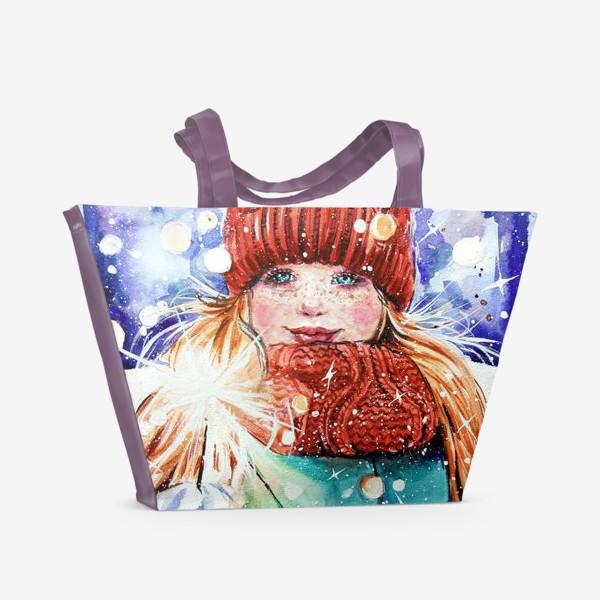 Пляжная сумка «девочка с бенгальским огнем»