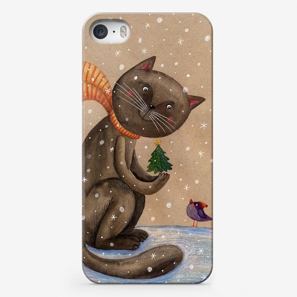 Чехол iPhone «Кот и ёлочка»