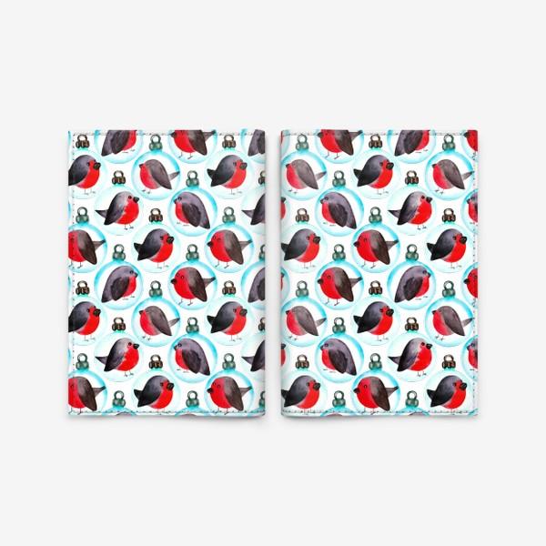 Обложка для паспорта «Паттерн ёлочные шары со снегирями»