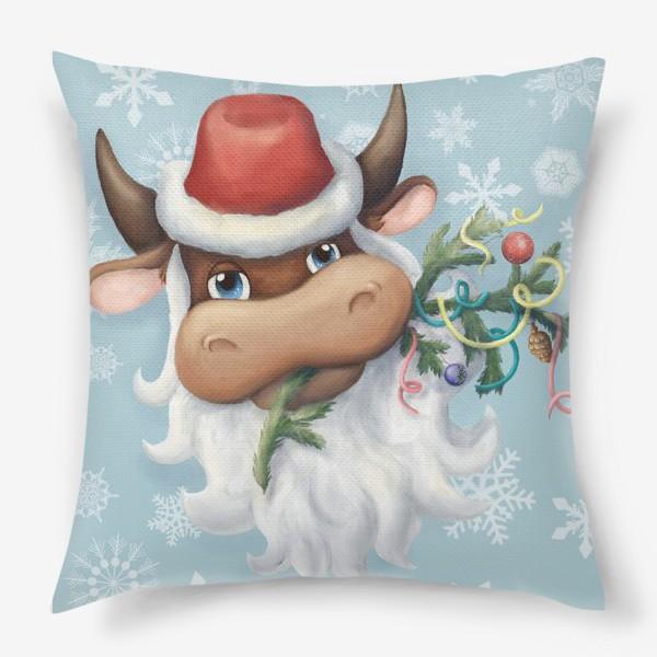 Подушка «Весёлый новогодний бычок в шапке Деда Мороза с еловой веткой и новогодними игрушками (на фоне со снежинками)»