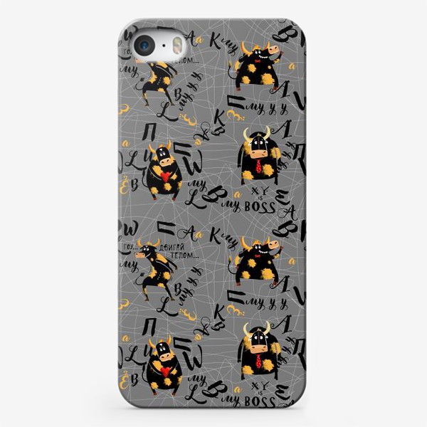 Чехол iPhone «Забавные быки с буквами. Бесшовный паттерн»