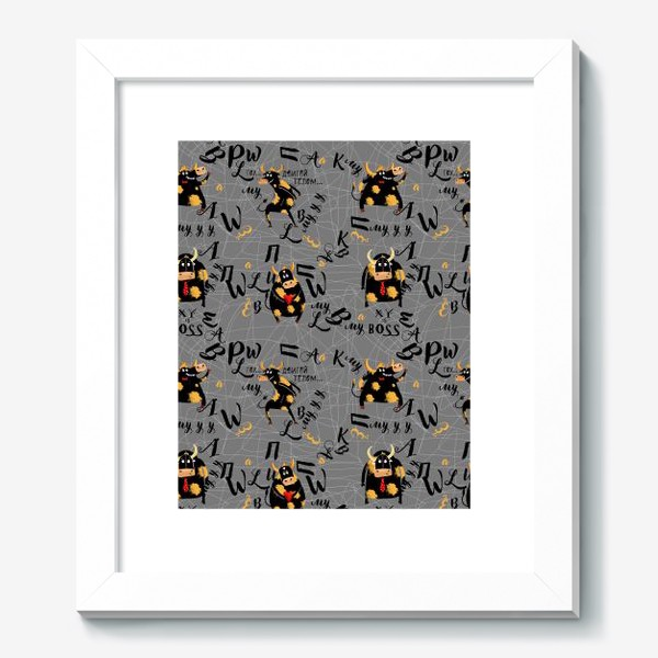 Картина «Забавные быки с буквами. Бесшовный паттерн»