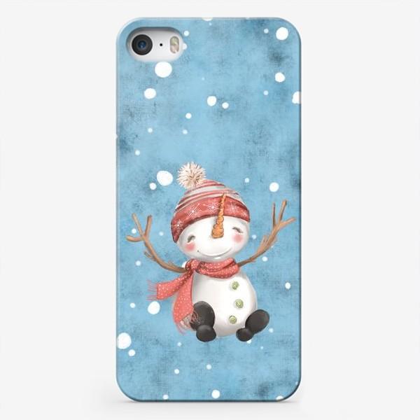 Чехол iPhone «Новый год и Рождество, Снеговик»