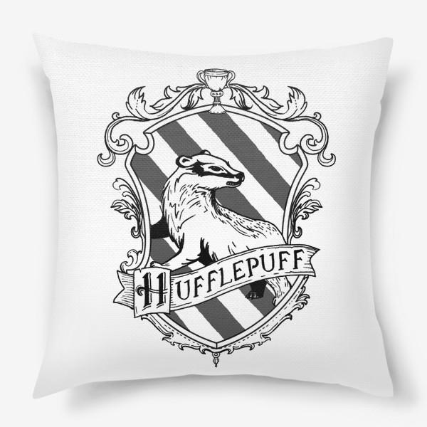 Подушка «Герб факультета Пуффендуй. Гарри Поттер. Hufflepuff Crest. Harry Potter»