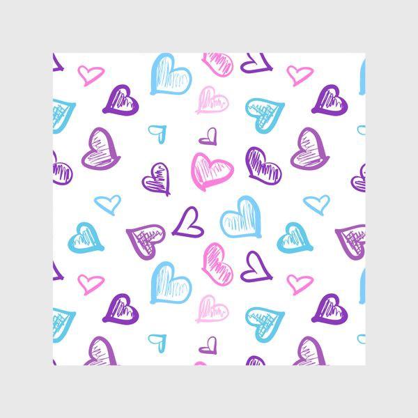 Шторы «Яркие разноцветные сердечки паттерн »