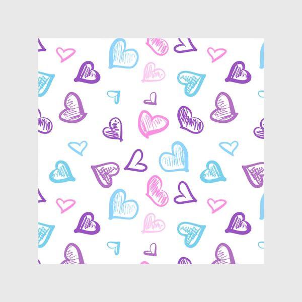 Скатерть «Яркие разноцветные сердечки паттерн »