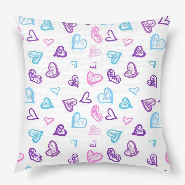 Подушка «Яркие разноцветные сердечки паттерн »