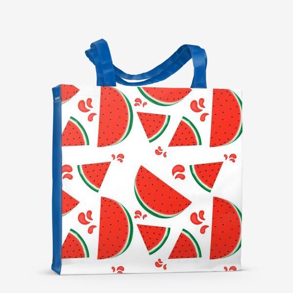 Сумка-шоппер «сочные ломтики арбуза паттерн»