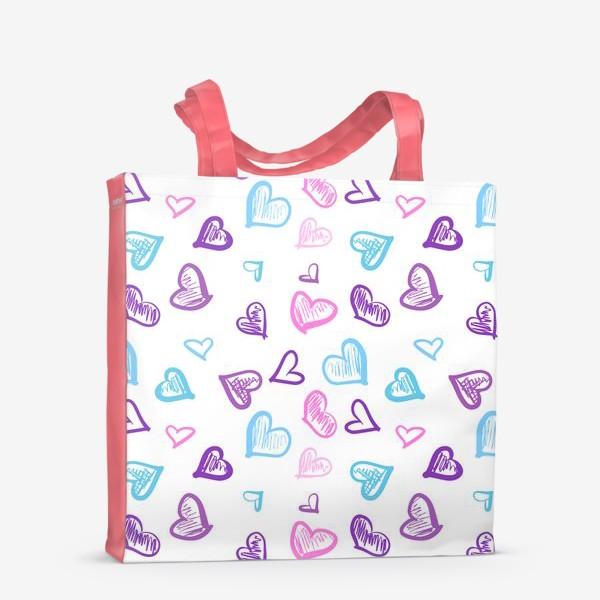 Сумка-шоппер «Яркие разноцветные сердечки паттерн »