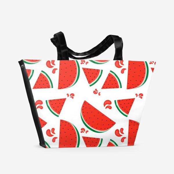Пляжная сумка «сочные ломтики арбуза паттерн»