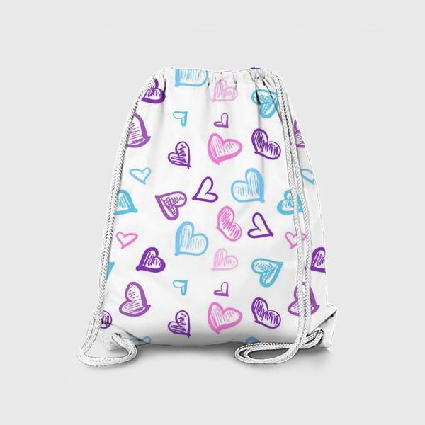 Рюкзак «Яркие разноцветные сердечки паттерн »