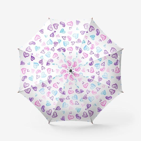 Зонт «Яркие разноцветные сердечки паттерн »
