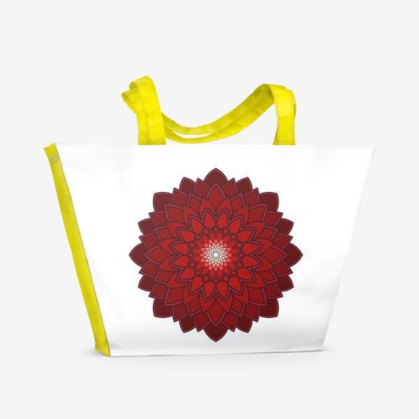 Пляжная сумка «Мандала красная астра»