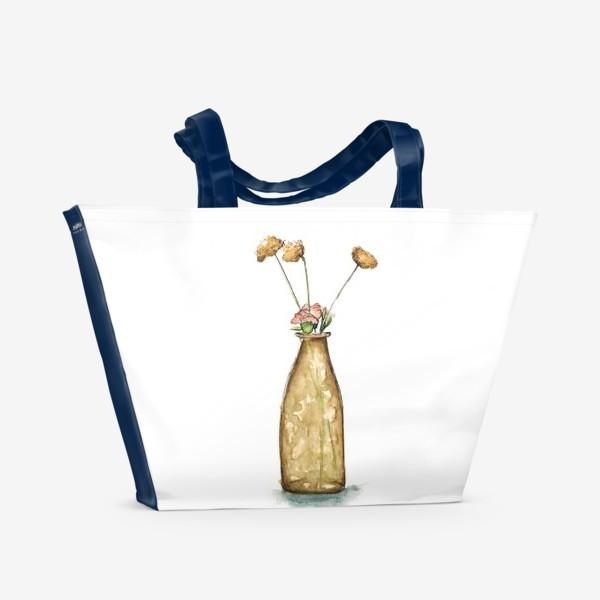"""Пляжная сумка «""""Ваза с цветами"""" акварельный скетч»"""