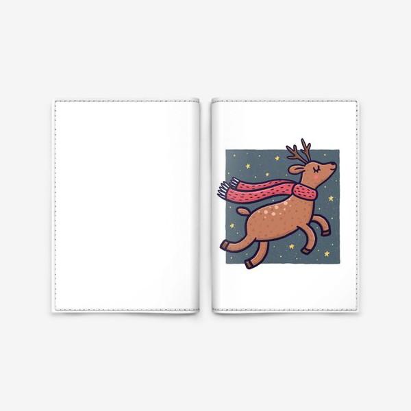 Обложка для паспорта «Новогодний северный олень в шарфике на белом фоне»