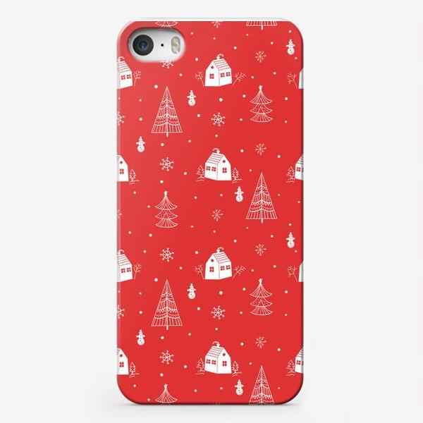 Чехол iPhone «Зимние елки и домики. »