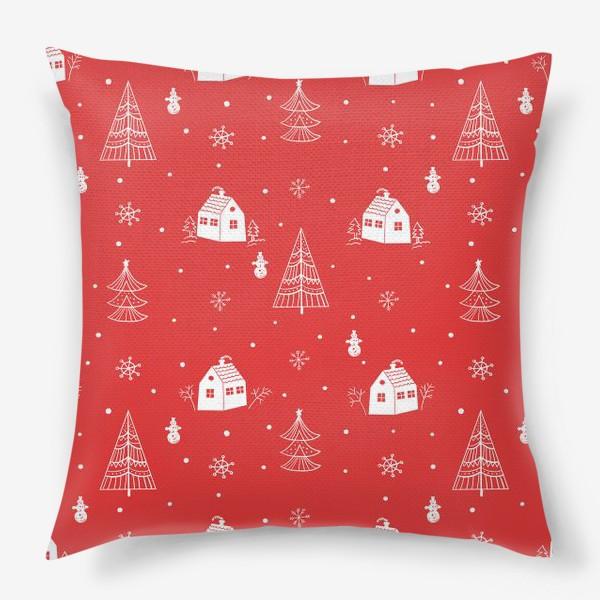 Подушка «Зимние елки и домики. »
