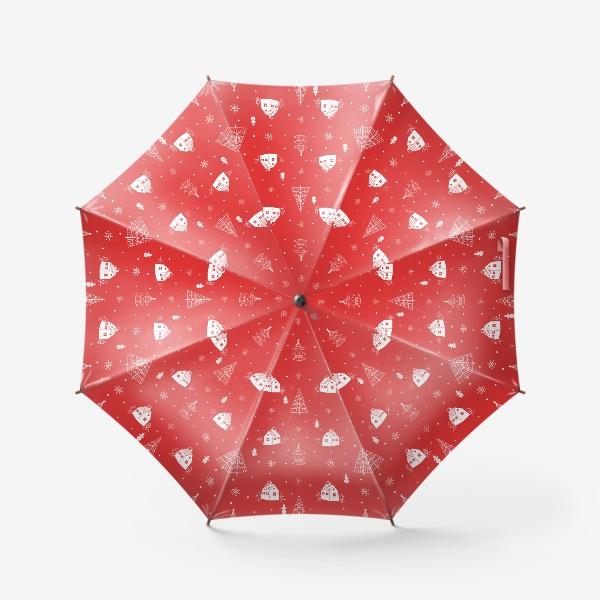 Зонт «Зимние елки и домики. »