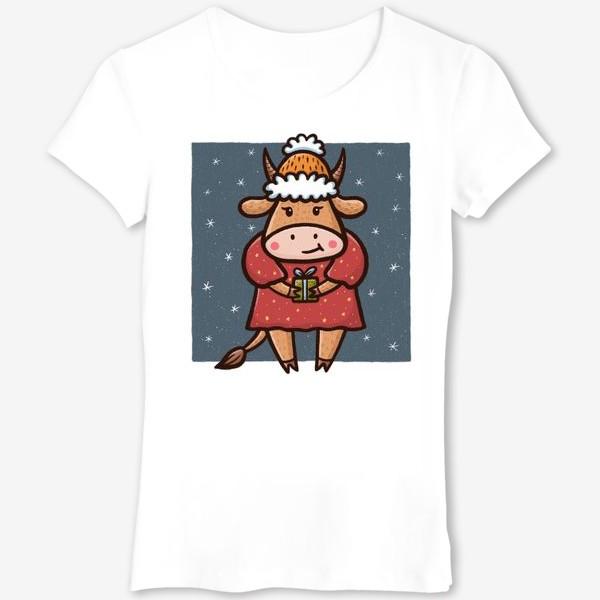 Футболка «Милая корова с подарком на белом фоне. Новый год 2021»
